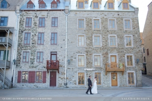 ntimate wedding Quebec City R&M Place Royal Petit Champlain newlyweds photo